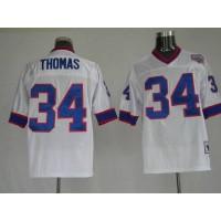 Mitchell & Ness Bills #34 Thurman Thomas White Stitched Throwback NFL Jersey