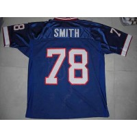 Mitchell & Ness Bills #78 Bruce Smith Blue 35th Anniversary Patch Stitched Throwback NFL Jersey