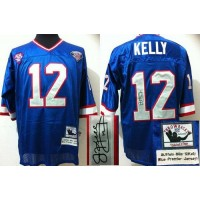 Mitchell And Ness Autographed Bills #12 Jim Kelly Blue(35th) Stitched Throwback NFL Jersey