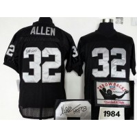 Mitchell And Ness Autographed Raiders #32 Marcus Allen Black Stitched Throwback NFL Jersey
