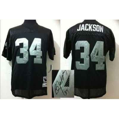 Mitchell And Ness Autographed Raiders #34 Bo Jackson Black Stitched Throwback NFL Jersey