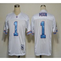 Mitchell And Ness Houston Oilers #1 Warren Moon White Stitched Throwback NFL Jersey