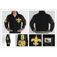 Mitchell And Ness NFL New Orleans Saints #9 Drew Brees Authentic Wool Jacket