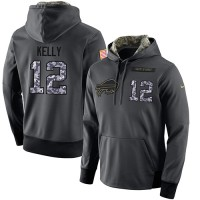 NFL Men's Nike Buffalo Bills #12 Jim Kelly Stitched Black Anthracite Salute to Service Player Performance Hoodie