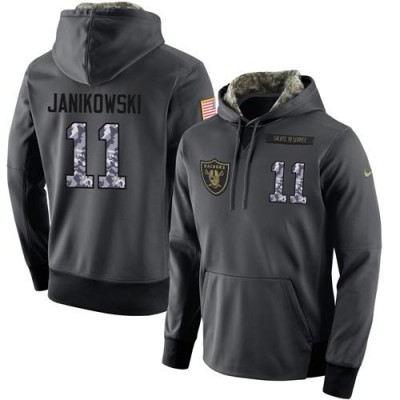 NFL Men's Nike Oakland Raiders #11 Sebastian Janikowski Stitched Black Anthracite Salute to Service Player Performance Hoodie
