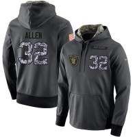 NFL Men's Nike Oakland Raiders #32 Marcus Allen Stitched Black Anthracite Salute to Service Player Performance Hoodie
