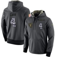 NFL Men's Nike Oakland Raiders #4 Derek Carr Stitched Black Anthracite Salute to Service Player Performance Hoodie