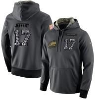 NFL Men's Nike Philadelphia Eagles #17 Alshon Jeffery Stitched Black Anthracite Salute to Service Player Performance Hoodie