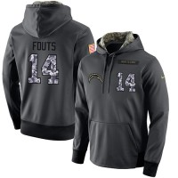 NFL Men's Nike San Diego Chargers #14 Dan Fouts Stitched Black Anthracite Salute to Service Player Performance Hoodie