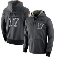 NFL Men's Nike San Diego Chargers #17 Philip Rivers Stitched Black Anthracite Salute to Service Player Performance Hoodie