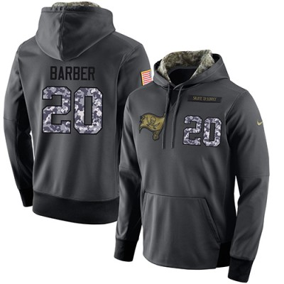 NFL Men's Nike Tampa Bay Buccaneers #20 Ronde Barber Stitched Black Anthracite Salute to Service Player Performance Hoodie
