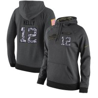 NFL Women's Nike Buffalo Bills #12 Jim Kelly Stitched Black Anthracite Salute to Service Player Performance Hoodie