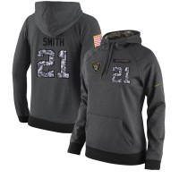 NFL Women's Nike Oakland Raiders #21 Sean Smith Stitched Black Anthracite Salute to Service Player Performance Hoodie