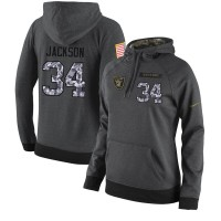 NFL Women's Nike Oakland Raiders #34 Bo Jackson Stitched Black Anthracite Salute to Service Player Performance Hoodie