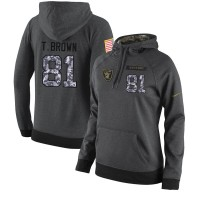 NFL Women's Nike Oakland Raiders #81 Tim Brown Stitched Black Anthracite Salute to Service Player Performance Hoodie