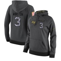 NFL Women's Nike Tampa Bay Buccaneers #3 Jameis Winston Stitched Black Anthracite Salute to Service Player Performance Hoodie