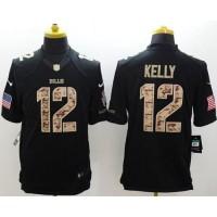 Nike Bills #12 Jim Kelly Black Men's Stitched NFL Limited Salute to Service Jersey