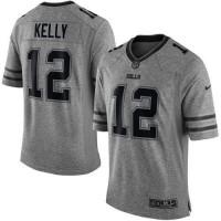 Nike Bills #12 Jim Kelly Gray Men's Stitched NFL Limited Gridiron Gray Jersey
