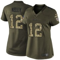 Nike Bills #12 Jim Kelly Green Women's Stitched NFL Limited Salute to Service Jersey