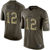 Nike Bills #12 Jim Kelly Green Youth Stitched NFL Limited Salute to Service Jersey