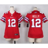 Nike Bills #12 Jim Kelly Red Women's Stitched NFL Limited Rush Jersey