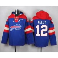 Nike Bills #12 Jim Kelly Royal Blue Player Pullover NFL Hoodie