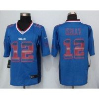 Nike Bills #12 Jim Kelly Royal Blue Team Color Men's Stitched NFL Limited Strobe Jersey