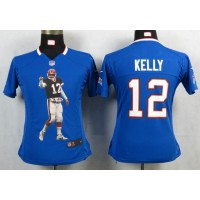 Nike Bills #12 Jim Kelly Royal Blue Team Color Women's Portrait Fashion NFL Game Jersey