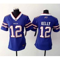 Nike Bills #12 Jim Kelly Royal Blue Team Color Women's Stitched NFL Elite Jersey