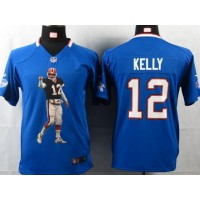 Nike Bills #12 Jim Kelly Royal Blue Team Color Youth Portrait Fashion NFL Game Jersey