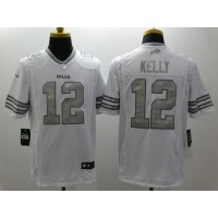 Nike Bills #12 Jim Kelly White Men's Stitched NFL Limited Platinum Jersey