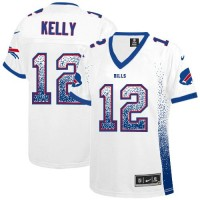 Nike Bills #12 Jim Kelly White Women's Stitched NFL Elite Drift Fashion Jersey