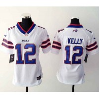 Nike Bills #12 Jim Kelly White Women's Stitched NFL Elite Jersey