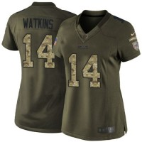 Nike Bills #14 Sammy Watkins Green Women's Stitched NFL Limited Salute to Service Jersey