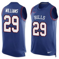 Nike Bills #29 Karlos Williams Royal Blue Team Color Men's Stitched NFL Limited Tank Top Jersey