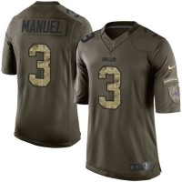 Nike Bills #3 E. J. Manuel Green Youth Stitched NFL Limited Salute to Service Jersey