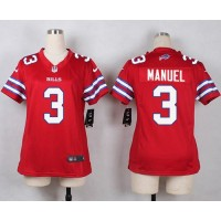 Nike Bills #3 E. J. Manuel Red Women's Stitched NFL Limited Rush Jersey