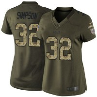 Nike Bills #32 O. J. Simpson Green Women's Stitched NFL Limited Salute to Service Jersey