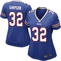 Nike Bills #32 O. J. Simpson Royal Blue Team Color Women's Stitched NFL Elite Jersey