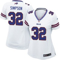 Nike Bills #32 O. J. Simpson White Women's Stitched NFL Elite Jersey