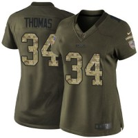 Nike Bills #34 Thurman Thomas Green Women's Stitched NFL Limited Salute to Service Jersey