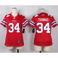 Nike Bills #34 Thurman Thomas Red Women's Stitched NFL Limited Rush Jersey
