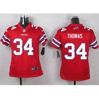 Nike Bills #34 Thurman Thomas Red Youth Stitched NFL Limited Rush Jersey