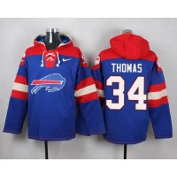 Nike Bills #34 Thurman Thomas Royal Blue Player Pullover NFL Hoodie
