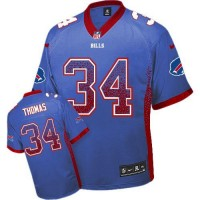 Nike Bills #34 Thurman Thomas Royal Blue Team Color Men's Stitched NFL Elite Drift Fashion Jersey