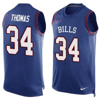Nike Bills #34 Thurman Thomas Royal Blue Team Color Men's Stitched NFL Limited Tank Top Jersey