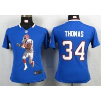 Nike Bills #34 Thurman Thomas Royal Blue Team Color Women's Portrait Fashion NFL Game Jersey