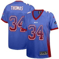 Nike Bills #34 Thurman Thomas Royal Blue Team Color Women's Stitched NFL Elite Drift Fashion Jersey
