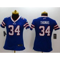 Nike Bills #34 Thurman Thomas Royal Blue Team Color Women's Stitched NFL Limited Jersey
