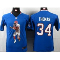 Nike Bills #34 Thurman Thomas Royal Blue Team Color Youth Portrait Fashion NFL Game Jersey